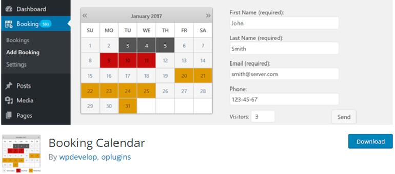 Booking Calendar плагин отображения календарей и событий