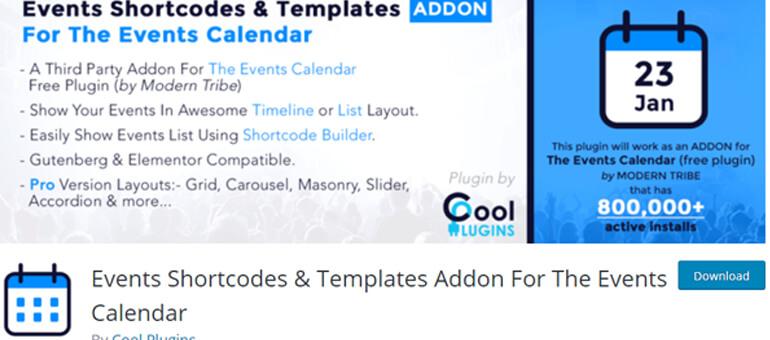 Шорткод и шаблоны календаря событий плагин временной шкалы WordPress
