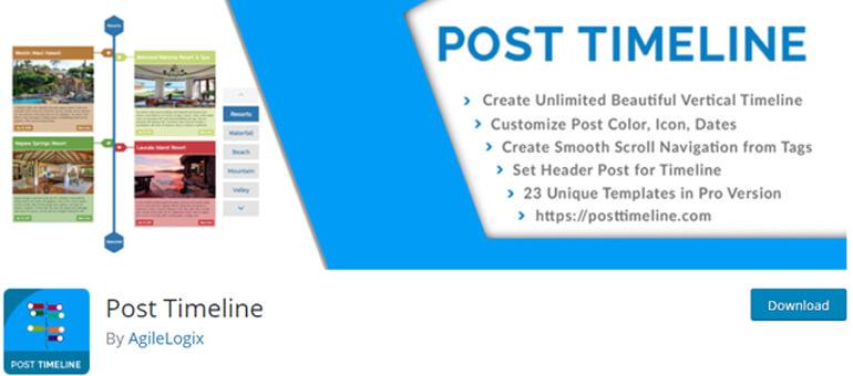 Post Timeline вертикальный график