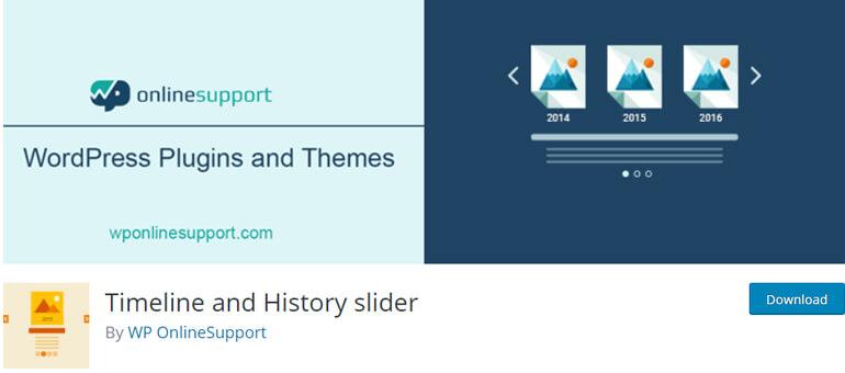 Timeline and History Slider плагин временной шкалы